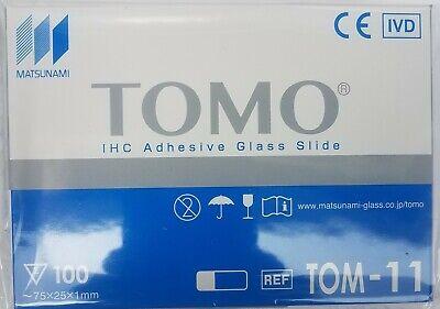 Tomo Tom-11 Adhesion Glass Microscope Slides 75x25x1mm White Qty 1000