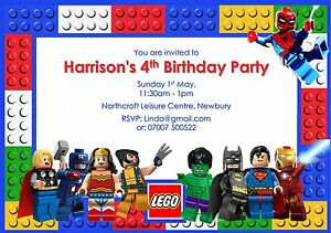 10 Personalised Lego Superhero Birthday Party invitations Free ...