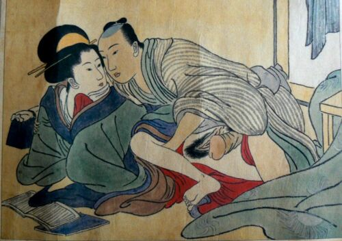 Collectable Beautiful Vintage Japanese or Chinese Erotica Scroll,Painted on Silk