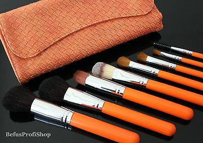 Make-up Pinsel Set Orange + Pinseltasche 9tlg Pinselset Brush Schminkpinsel
