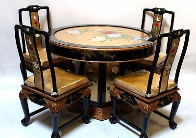 Oriental dining room set furniture dinettes gold leaves lacquer ()