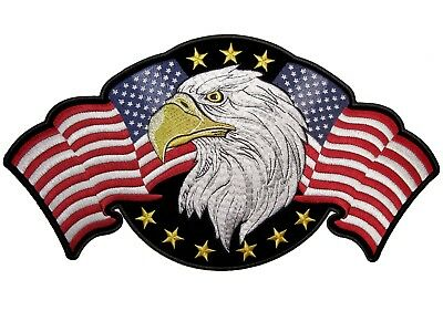 Patriotic Eagle American Flags Embroidered Biker Patch FREE SHIP