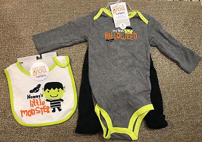 NEW NWT Carter's Baby Boy 3pc Little Monster Halloween Bodysuit Pants Bib Set 6M](Carter's Baby Boy Halloween)