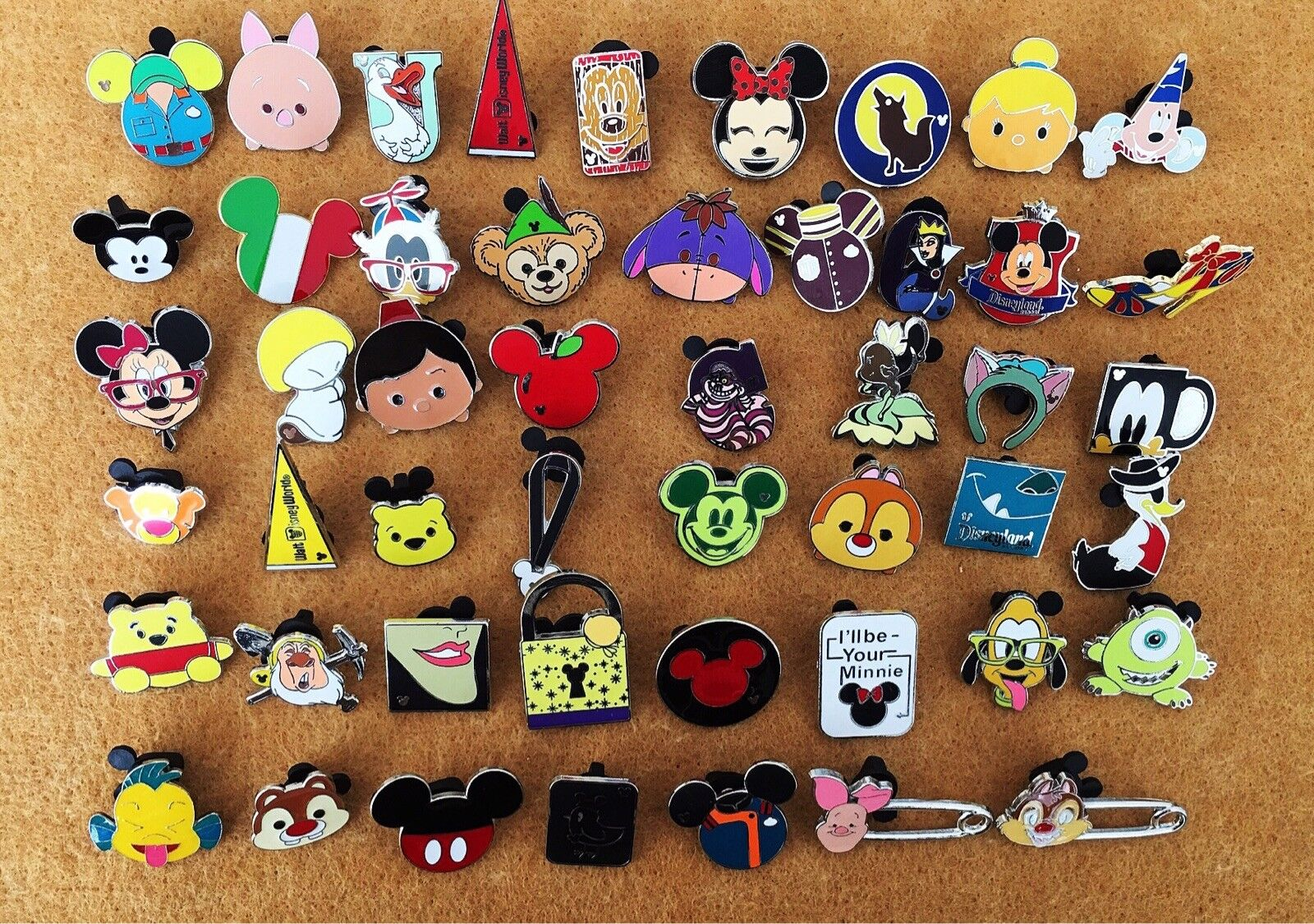 Disney Pin Trading 50 Assorted Pin Lot - Brand New Pins No Doubles Tradable