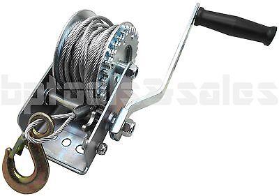 600lb Steel Cable Hand Winch Crank Gear Winch ATV Boat Trailer Heavy Duty NEW