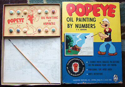 1950's complete Popeye Oil Painting by Numbers + Original Box  set looks unused! Complete Oil Painting Set