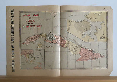 1898 War Map of Cuba and the Philippines - Spanish American War