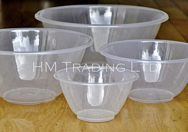 15/20/25/30 cm Clear Strong Plastic Mixing Salad Bowls Kitchen Cooking Baking