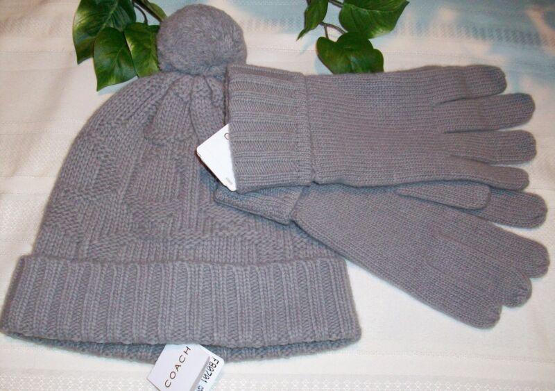 Coach Sculpted C Hat 80701 Sculpted C Gloves 80703 Set Gray Grey NWT Wool Blend