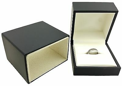 Matte Black Elegant Sleeve Slotted Ring Gift Box Jewelry Display
