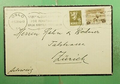 DR WHO 1939 NORWAY OSLO SLOGAN CANCEL MOURNING COVER TO SWITZERLAND  g15303