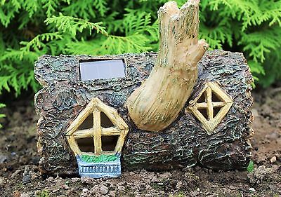 Solar Powered Colour Changing Secret Fairy Garden Ornament Log House Log Home