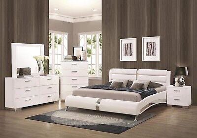 CONTEMPORARY 4 PC. WHITE LEATHERETTE & CHROME KING BED N/S DRESSER FURNITURE SET Bedroom Chrome Dresser