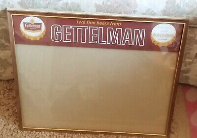 Vintage Gettelman Miller Beer tavern bar advertising license holder glass sign