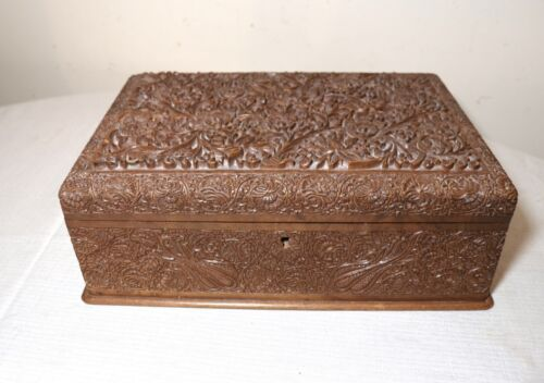 large ornate vintage elaborate hand relief carved Anglo Indian wooden wood box