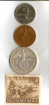 #-5-)-WWII-*rare*German Stamp+WWII-*US and *German SILVER-COPPER-STEEL coins