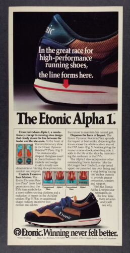 1983 Etonic Alpha 1 Running Shoe vintage print Ad