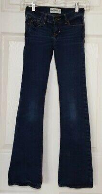 Girls Abercrombie Kids Stretch Jeans Size 10 Dark Blue Design Faded