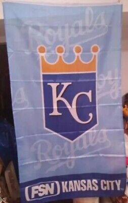 KANSAS CITY ROYALS BASEBALL BANNER FLAG FSN NETWORK 60X33 RARE FREE SHIPPING