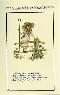 Mother Goose Rhyme, Little Bo Peep, by Kate Greenaway Reprod. Postcard