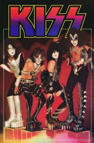 KISS Band On Cubes 1977 Reproduction 24 x 36 Poster - Love Gun Rock Music