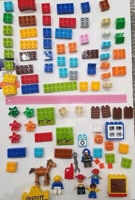 80+ Lego Duplo Block + Figure + Accessory Lot Toy Story Sheriff Door Color Set