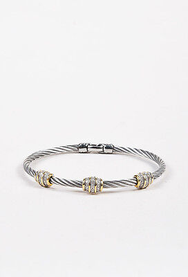 Charriol Steel 18K White Yellow Gold Diamond Station Accent Cable Bracelet