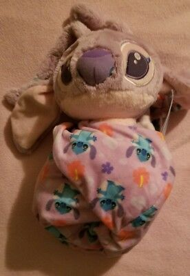 """Disney Parks Angel Baby Plush with Blanket Pouch 10"""" Babies Lilo and Stitch NEW"""