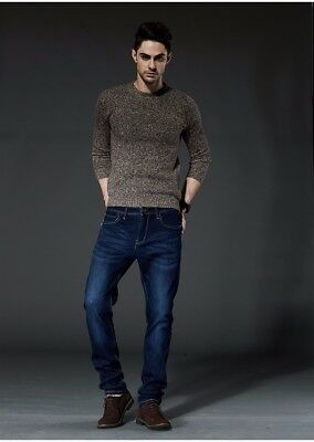 Cotton Thermal Jeans - Men's Winter Thick Thermal Fleece Lined Straight Dark Denim Cotton Pants 28-42
