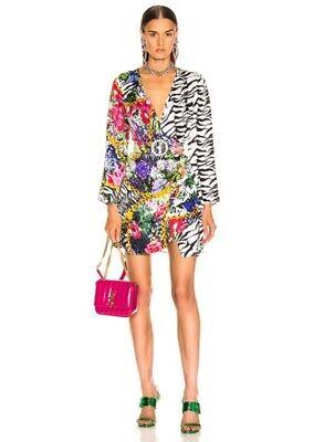 RIXO Floral Print Mono Tiger Animal Print Colorblock ABBA Satin Wrap Dress XXS 0