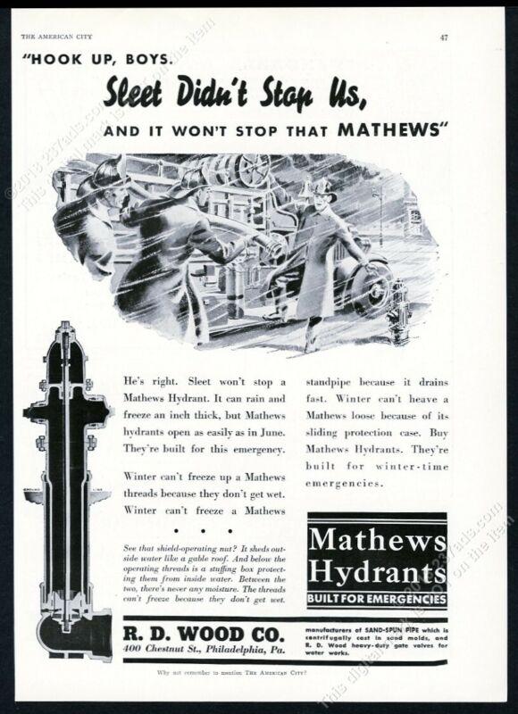 1937 Mathews fire hydrant firemen art H D Wood vintage print ad