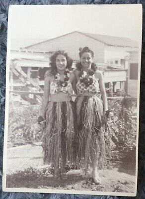 ca.1940 Photograph of two HULA GIRLS in Grass Skirts & Leis Possibly in Hawaii L Grass Skirts Leis