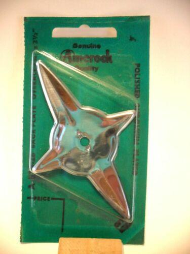 Vintage NOS Polished CHROME STAR Starburst Knob BACK PLATE Escutcheon 4 point