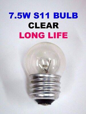 20-PK 7-1/2 Watt CLEAR S11 LIGHT BULB 7.5S11 TRANSPARENT Sign NEW Made (Clear Sign Light Bulb)