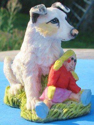 Australian Shepherd Pup & Doll Figurine Holland Studio Craft England Plaster ?