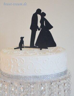 Tortendekoration für Hochzeit,Brautpaar und Hund, Brautkleid,cake topper
