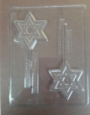 JEWISH STAR OF DAVID LOLLIPOP CHOCOLATE CANDY PLASTIC MOLD CIC J001 Star Chocolate Mold