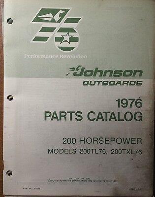 1976 JOHNSON  OUTBOARD 200 HP  MODELS PARTS CATALOG