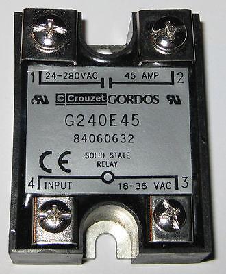 Crouzet Gordos Solid State Relay - 280V AC - 45A -  G240E45 - 18-36 VAC Control