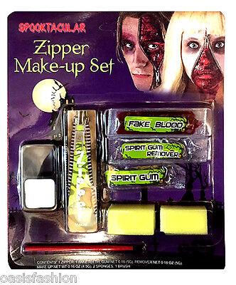 Halloween con Cremallera Maquillaje Pintura Facial Kit Zombie Devil Vampiro Roja