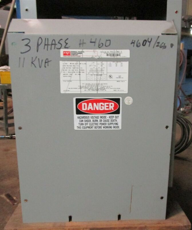 Federal Pacific FH11CFMD-3 11 KVA Transformer 3 Phase 60 Hz 460-460Y/266