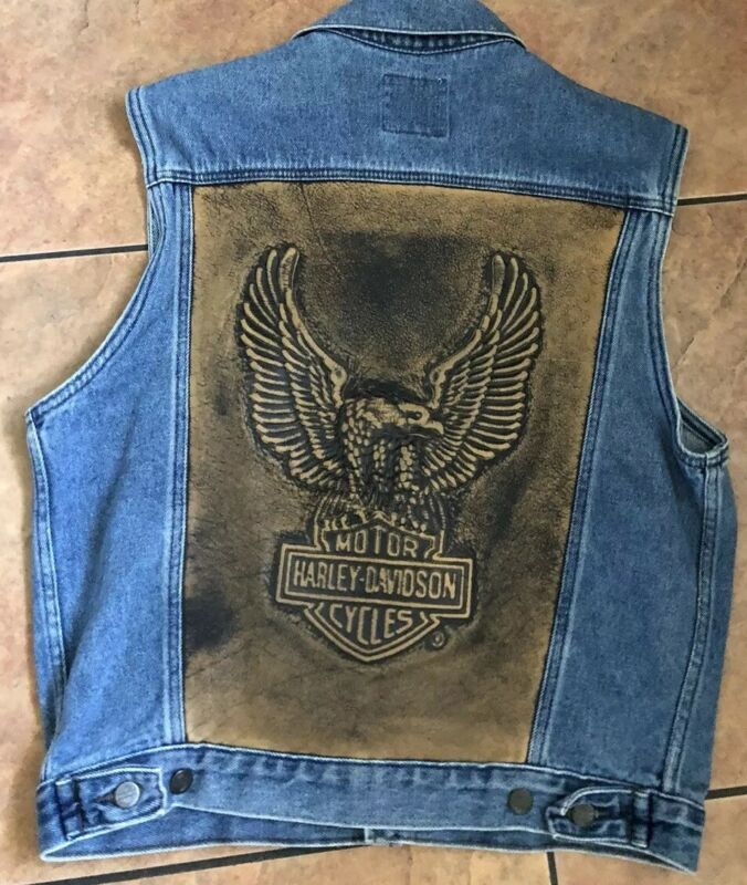 "Men's Harley Davidson Denim Jean Vest With Learher Eagle, xs,22""X 25 1/2"""