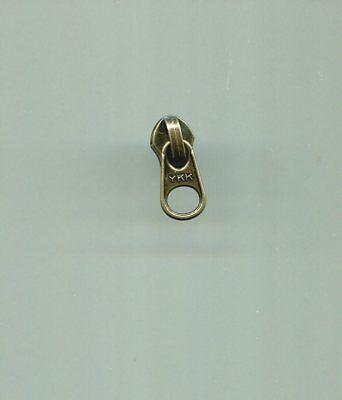 One Antique Brass Zipper Slider #5C YKK w/ Short Beer Tab Pu