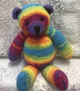 "Rainbow 🌈 Teddy Bear Cuddle size 12"" Crochet Knit Handmade CE Marked Soft Toy"