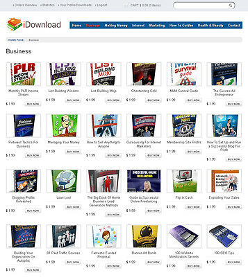 Ebooks Digital Products Store Website For Sale - 180 Items Included