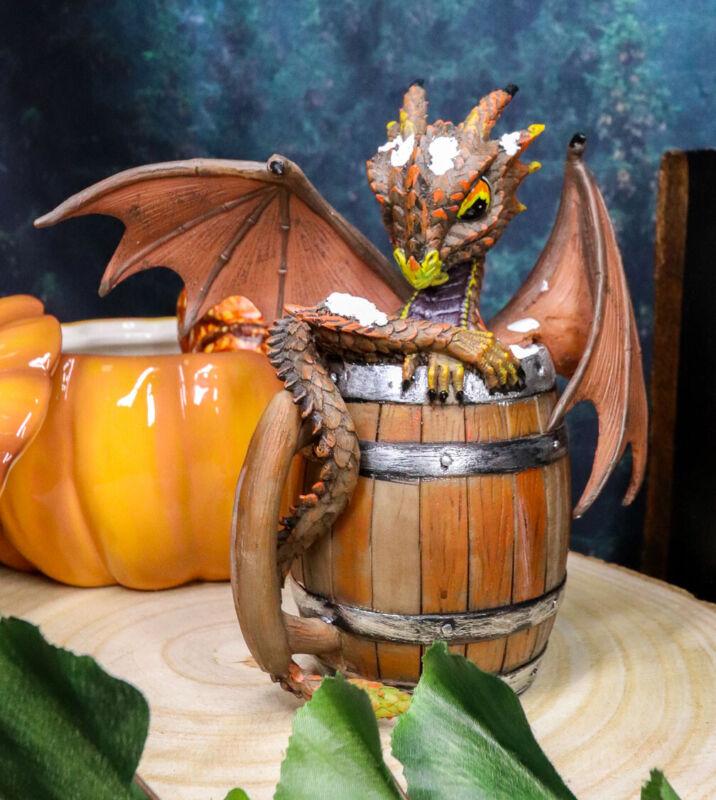 Ebros German Fest Dark Beer Dragon in Aged Barrel Fantasy Drunk Dragons Figurine
