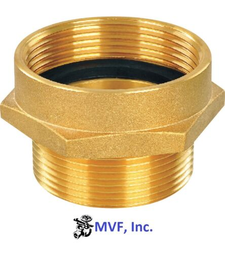 """1-1/2"""" Female NST X 1-1/2"""" Male NPT Hex Adapter Brass Hydrant Hose <2415535"""