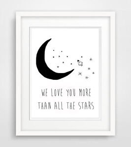 WE-LOVE-YOU-MORE-THAN-ALL-El-estrellas-dicho-Poster-Bebe-Habitacion-impresion