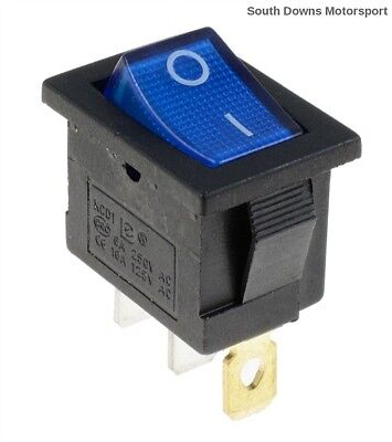 Blue Illuminated Rectangle Rocker Switch SPST 12V Car,Boat,Van,Caravan etc...