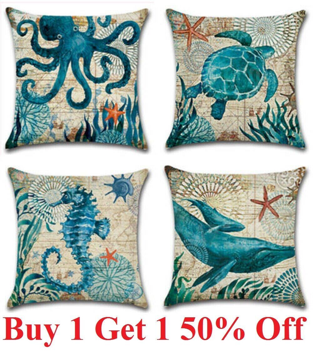 Ocean Coastal Throw PILLOW COVER Teal Blue Linen Decorative Cushion Case 18×18″ Home & Garden